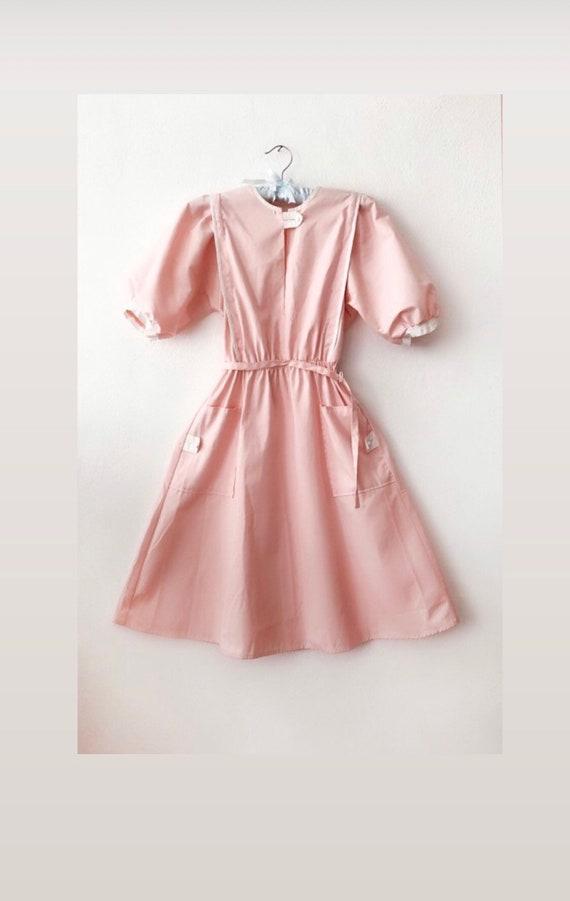 Vintage Nurse Dress pastel pink 60s 70s