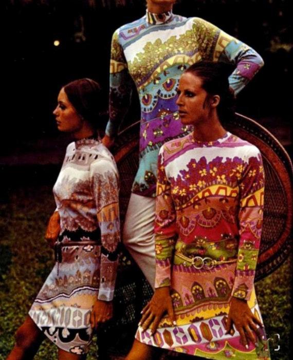 Vintage JEANNE LANVIN 60s 70s Psychedelic Print T… - image 5