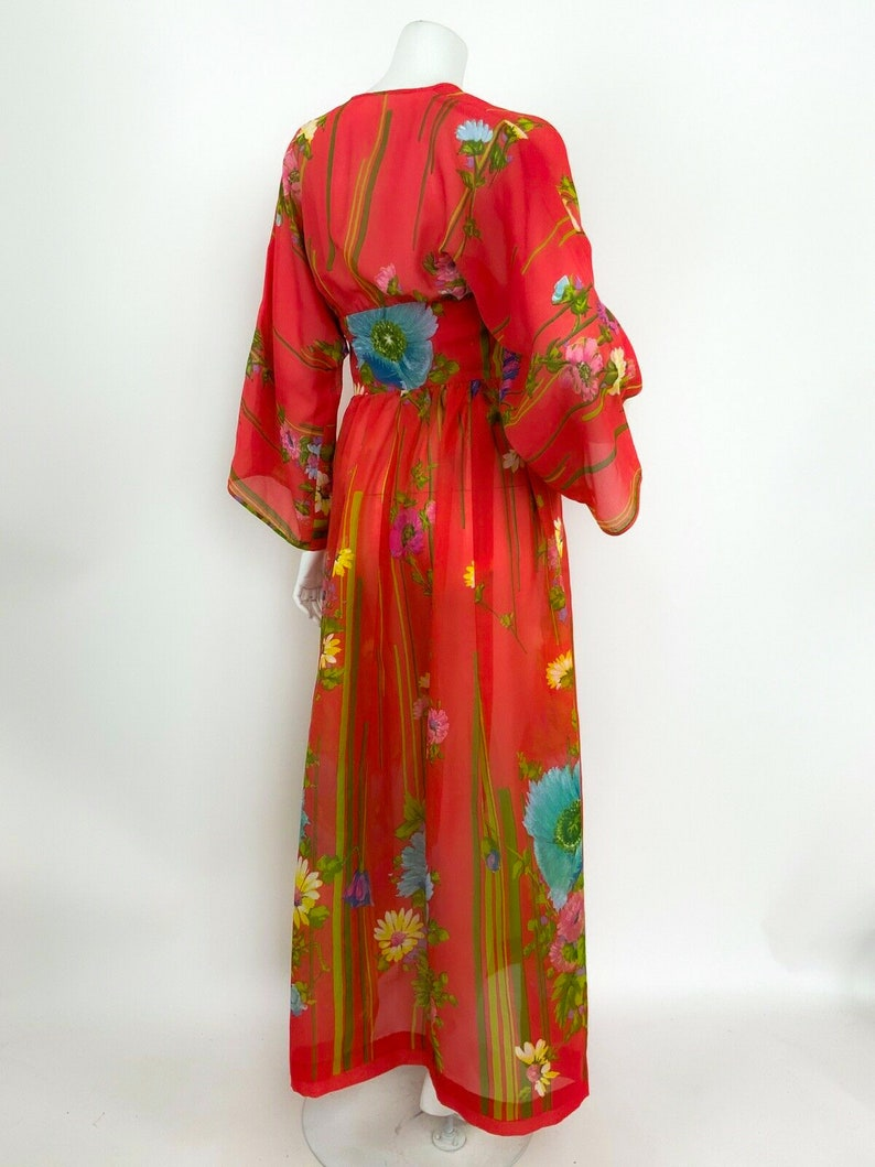 Maxi Dress Kimono Kaftan 60s 70s Asian Flower 1970 Hippie Caftan