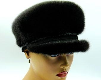 Women's mink fur newsboy cap black mink woman breton hat.