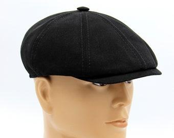 94558bf68610b3 Spring caps for men, Hat type Newsboy Cap or Jay Gatsby, Newsboy Hat, Men's Newsboy  Cap in Black Cotton, Black Cotton Flat Cap, Men's Cap.