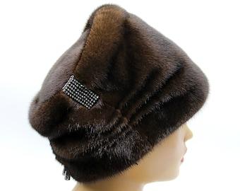"Mink hat ""Lady"", winter fur hat, brown mink hat, real mink fur hat, women's fur hat, elegant fur hat, fur hats, mink fur hats, woman fur hat"