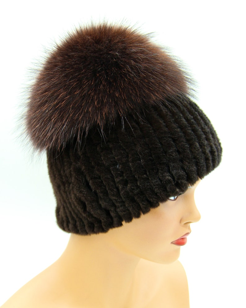 winter fur hat brown color. knitted winter hat fur beanie rabbit fur hat Knitted fur hat for women \u201cBon\u201d