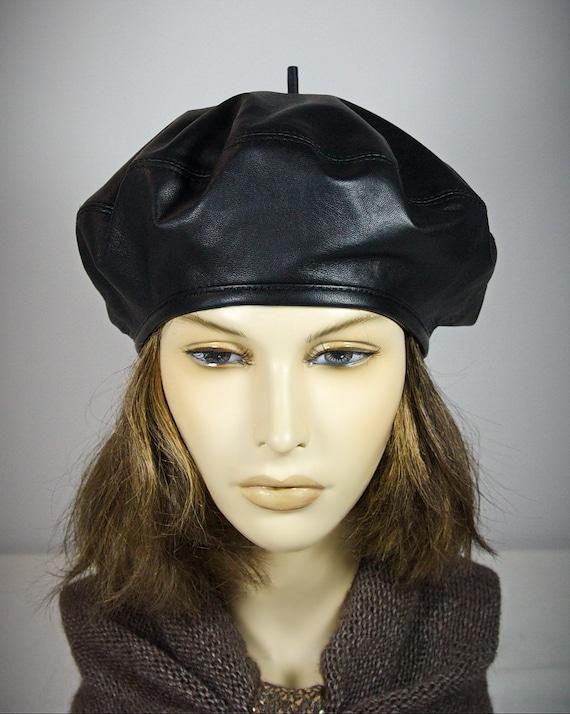 20c058ca672eb French Beret Women s Beret Hat Leather Beret Hat