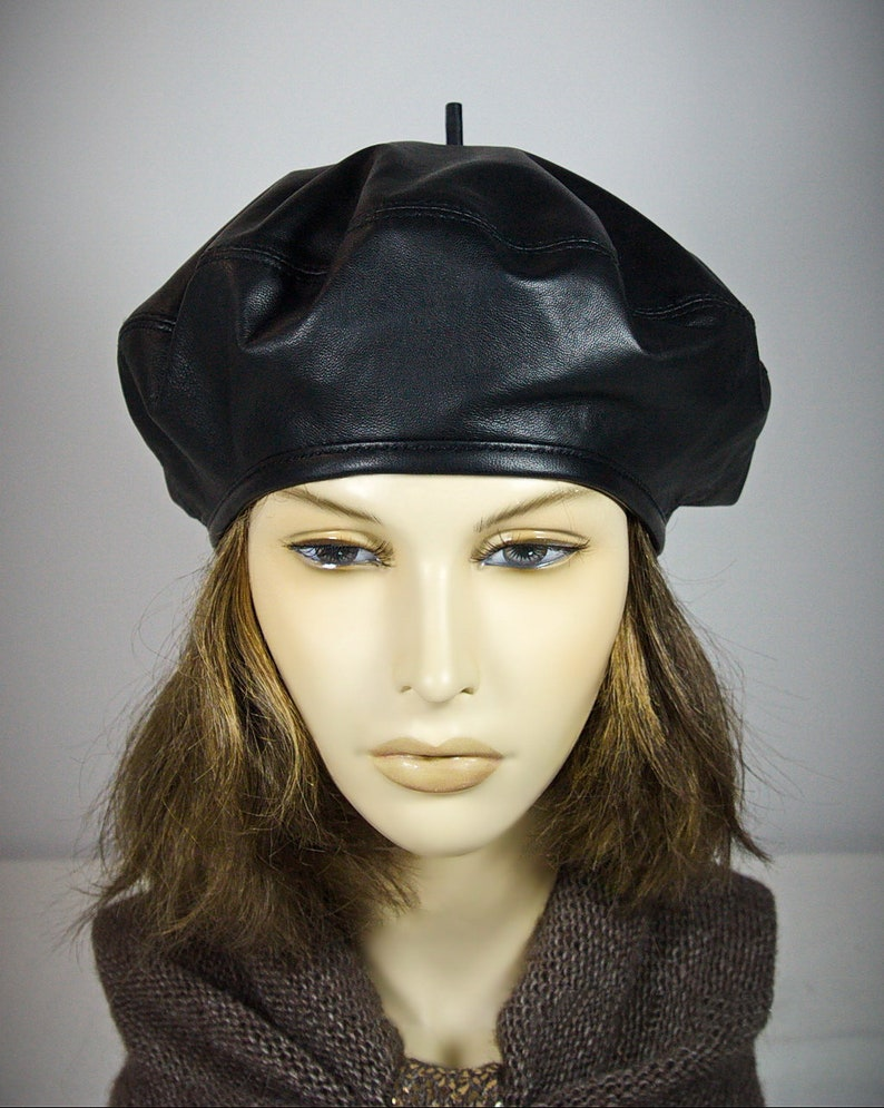 French Beret Women s Beret Hat Leather Beret Hat  794ac2a5d92