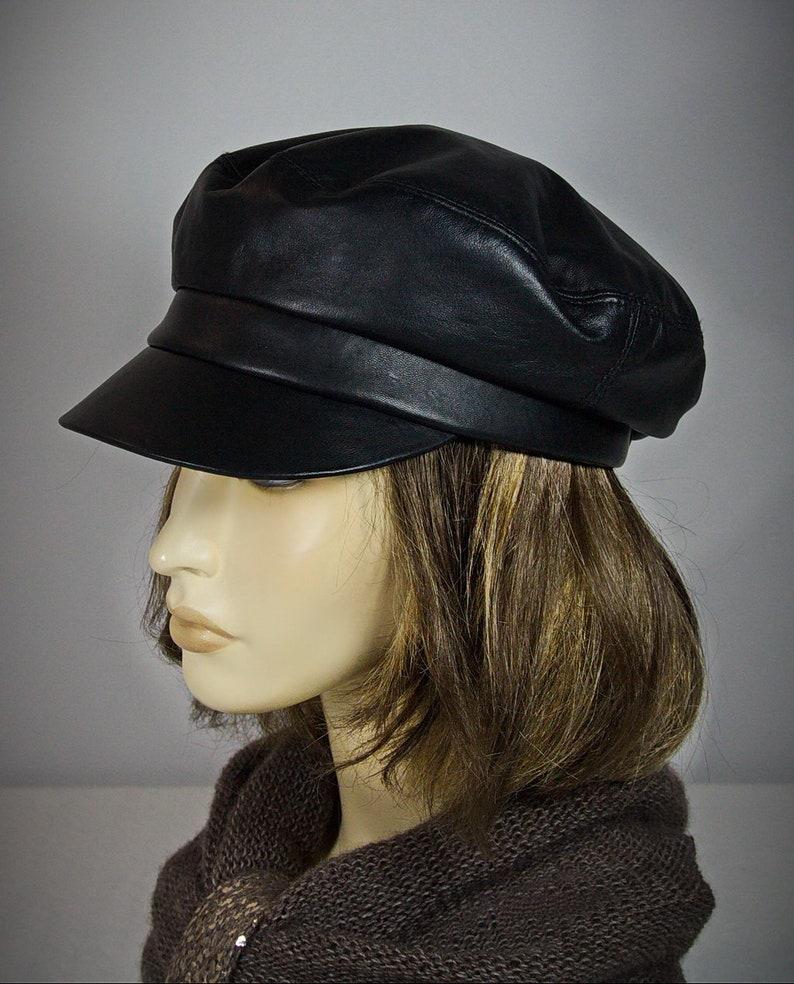 83905620bff Baker Boy Hat Black Leather Cap Breton Hat Leather Cap