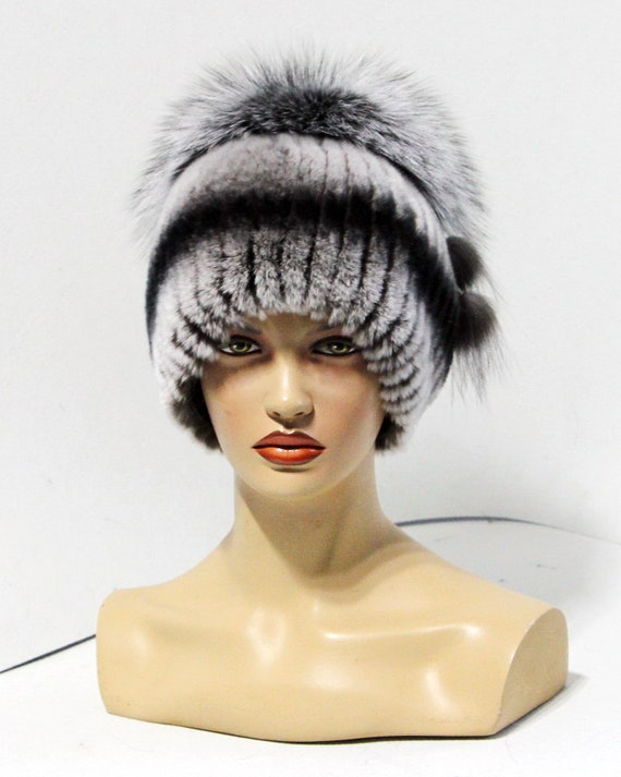 Winter hat with fur pom pom women s fur hat made of rex  7a0da5d9ad0