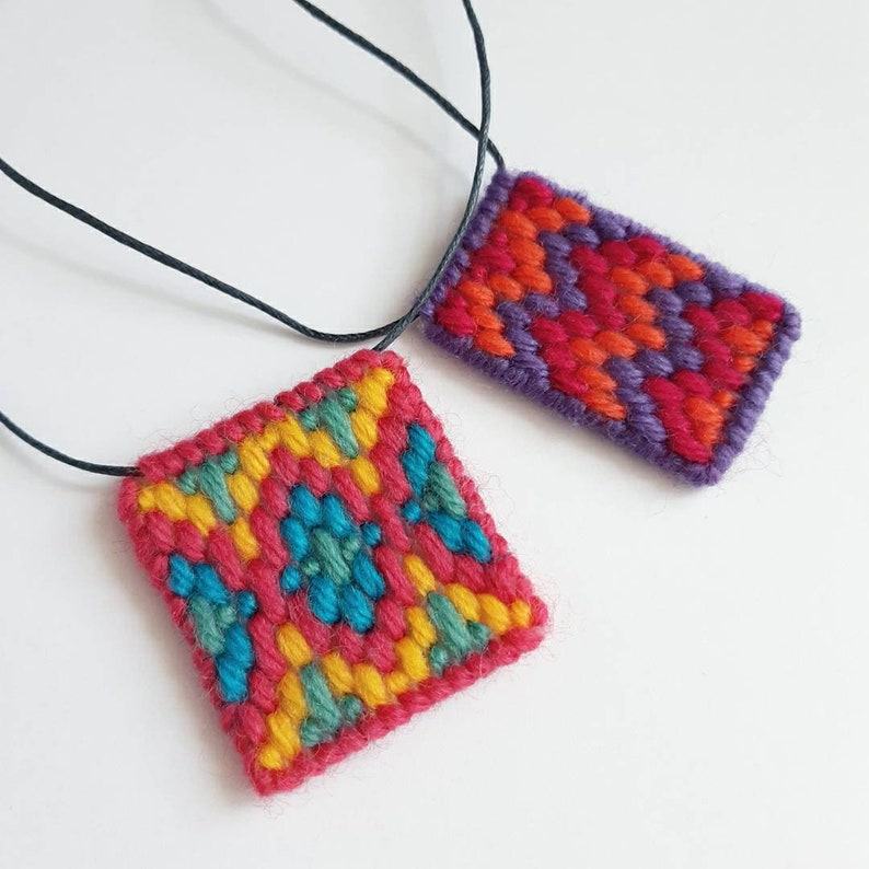 Bargello Craft Kit and Tutorial Video  Bargello Necklace Summer Brights