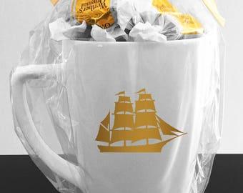 1700's Ship Mug In Real Gold Foil - 1700's Elegant Mug for Traveler - Old English Ship Mug - Real Gold Foil Mug Ship Cup - English Ship Mug