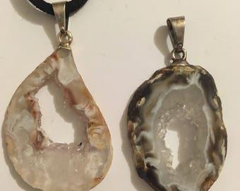 Silver geode pendant