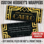 Great Gatsby Candy Bar Wrapper, Art Deco Candy Bar Wrapper, Retro Candy Bar Wrappers, Vintage, Free Foil, Digital File or Printed - 019