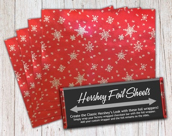 Snow Foil Sheets, Red, Hershey Foil Sheets, Hershey Foil Wrappers, Candy Bar Foil Sheets, Foil Wrappers for Wrapping 1.55Oz Hershey Bars