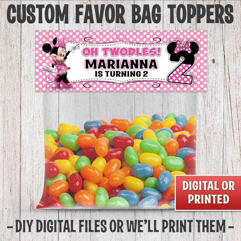Minnie Mouse Favor Party Bag Toppers For Birthday Parties image 0