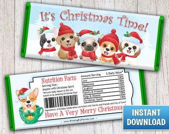 Christmas Hershey's Bar Wrappers, Christmas Puppies Candy Bar Wrappers, Puppy, Candy Bar Wrappers, Merry Christmas, Instant Download – 128