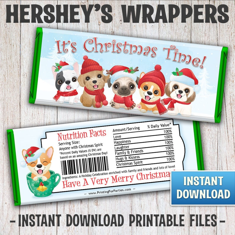 Christmas Hershey's Bar Wrappers Christmas Puppies Candy image 0