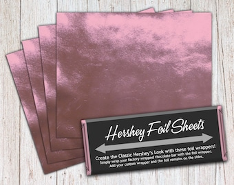 Light Pink Foil Sheets, Hershey Foil Sheets, Hershey Foil Wrappers, Candy Bar Foil Sheets, Foil Wrappers for Wrapping 1.55Oz Hershey Bars