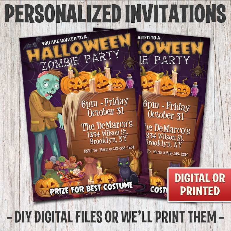 Personalized Halloween Party Invitations Halloween Zombie image 0