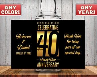 Personalized 40th Anniversary Square Mini Liquor Bottles, Caps & Custom Labels, Mini Liquor Bottles, Party Favor, 30th, 40th, 50th, 60th