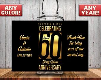 Personalized 60th Anniversary Square Mini Liquor Bottles, Caps & Custom Labels, Mini Liquor Bottles, Party Favor, 30th, 40th, 50th, 60th