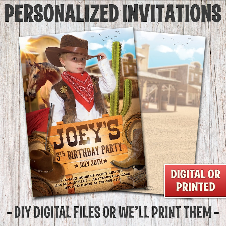 Personalized Cowboy Birthday Invitation Birthday Cowgirl image 0