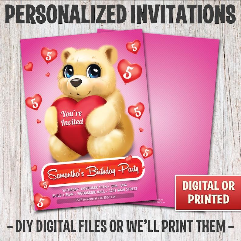 Personalized Teddy Bear Birthday Invitation Birthday Teddy image 0