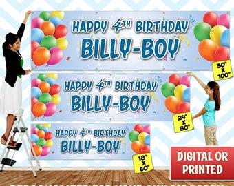 Custom Personalized Balloons Birthday Banner Decoration, Custom Banner, Personalized Banner, Balloons, Birthday Backdrop Decoration - 029