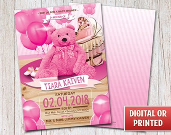 Personalized Teddy Bear Baby Shower Invitation, Baby Shower Invitation, Baby Shower Party, Digital File or Printed, 4x6 or 5x7 – 074