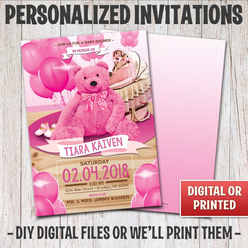Personalized Teddy Bear Baby Shower Invitation Baby Shower image 0