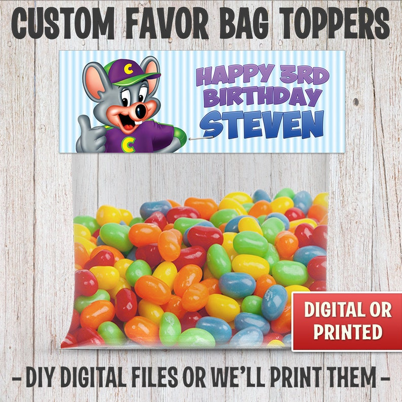 Chuck E Cheese Favor Party Bag Toppers For Birthday Parties image 0