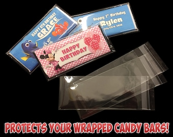 Hershey's Clear Plastic Protectors for Wrapped Hersheys, Plastic Inserts for Hershey's Chocolate Bars, Clear Covers for Hershey's Candy Bars