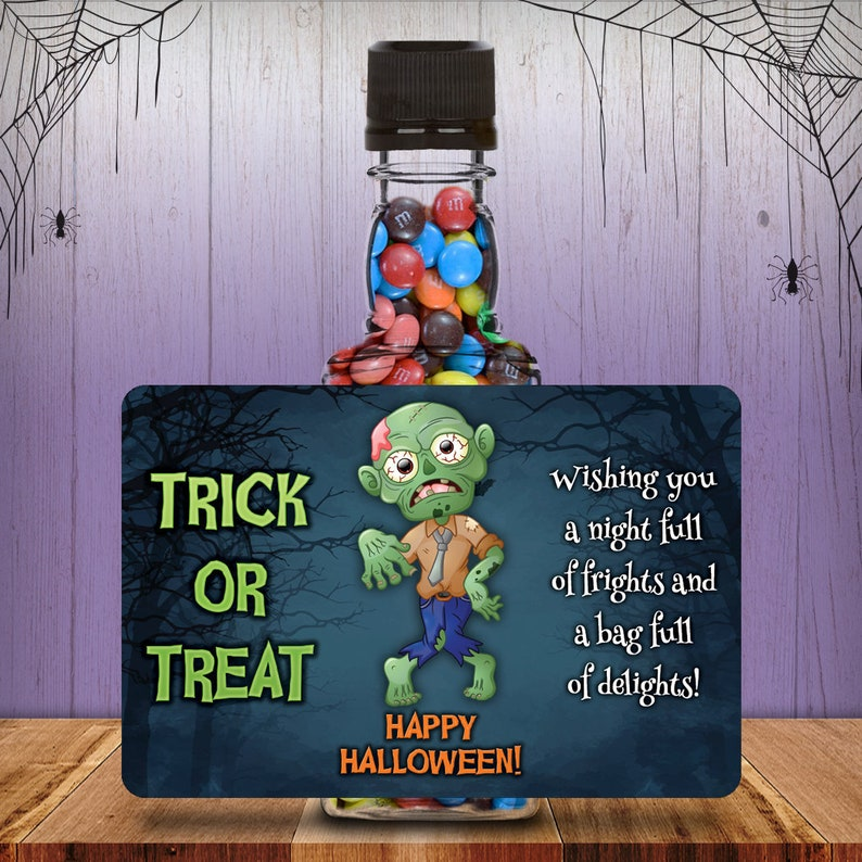 Halloween Costume Zombie Square Mini Liquor Bottles Trick Or image 0