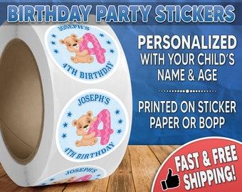 Teddy Bear Birthday Party Stickers Personalized, Teddy Bear Stickers, Teddy Bear Labels, Round Stickers, Birthday Party Stickers 0004
