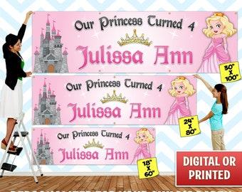 Custom Personalized Princess Birthday Banner Decoration, Custom Banner, Personalized Banner, Princess, Birthday Backdrop Decoration - 028
