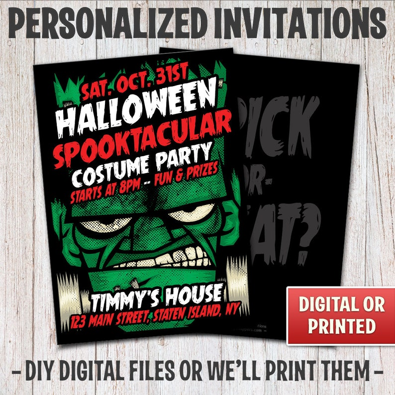 Personalized Monster Halloween Party Invitations Monster image 0