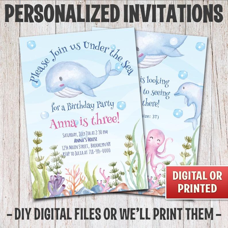 Personalized Birthday Invitation Birthday Under The Sea image 0