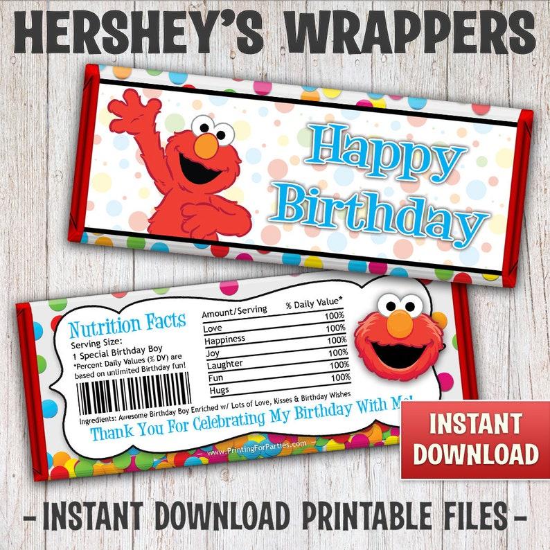 Instant Download Elmo Candy Bar Wrapper Printable Elmo image 0