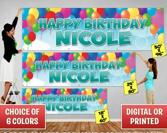 Custom Personalized Balloons Birthday Banner Decoration, Custom Banner, Personalized Banner, Balloons, Birthday Backdrop Decoration 030