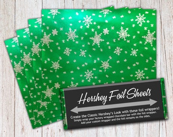 Snow Foil Sheets, Green, Hershey Foil Sheets, Hershey Foil Wrappers, Candy Bar Foil Sheets, Foil Wrappers for Wrapping 1.55Oz Hershey Bars