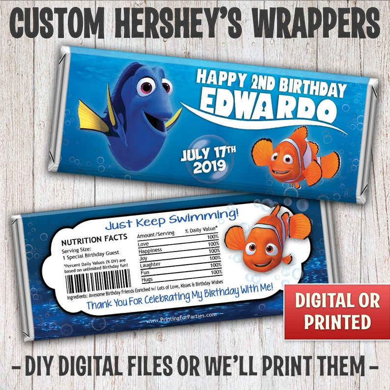 Finding Nemo Candy Bar Wrapper Finding Dory Candy Bar image 0