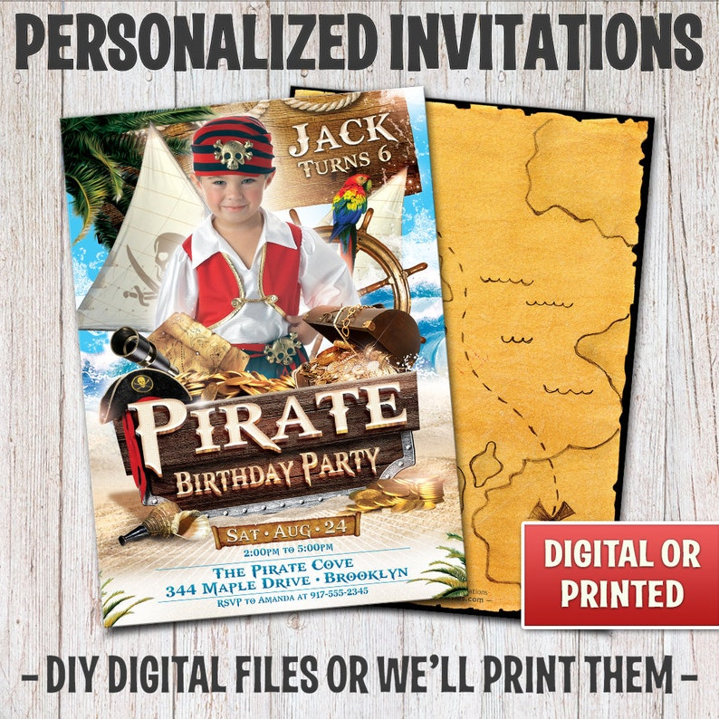 Personalized Pirate Birthday Invitation Boy Pirate image 0