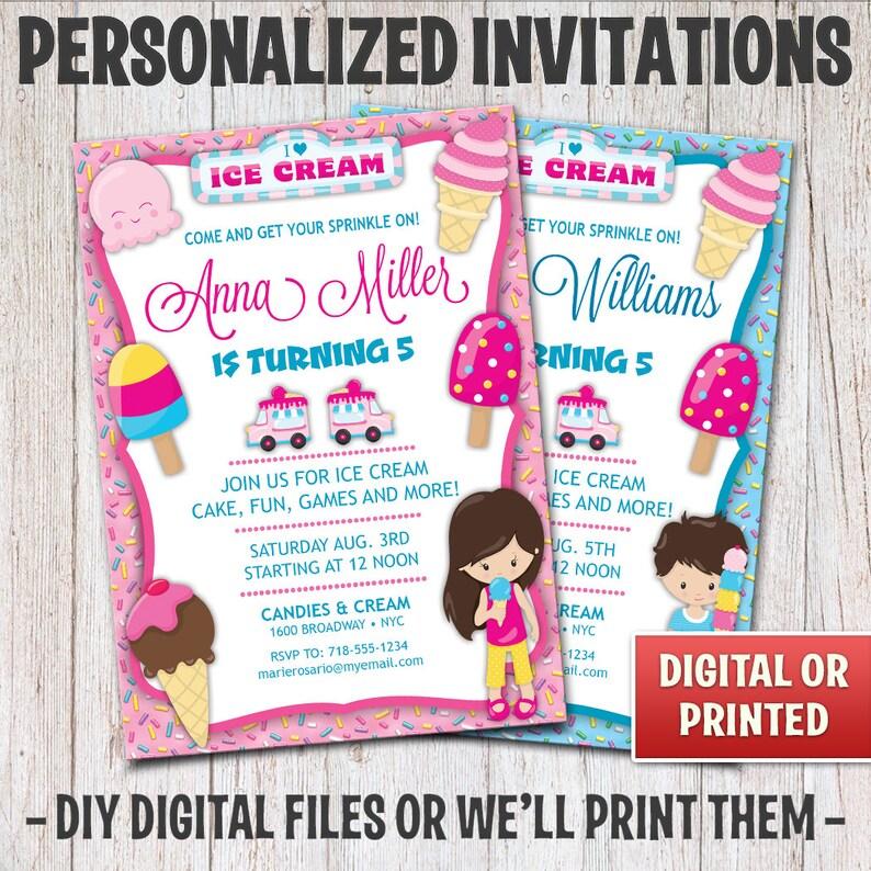 Personalized Ice Cream Birthday Invitation Birthday Ice Cream image 0