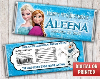 Personalized Elsa Anna Frozen Candy Bar Wrappers, Elsa Anna Frozen Hersheys Wrappers, Frozen Birthday Party, Digital File or Printed - 054