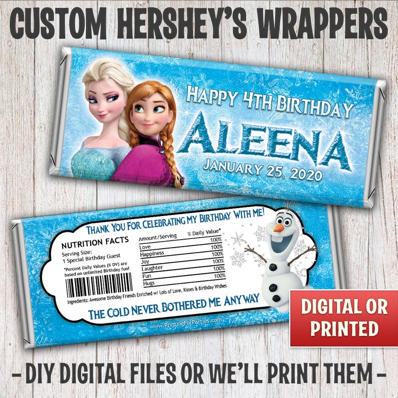 Personalized Elsa Anna Frozen Candy Bar Wrappers Elsa Anna image 0