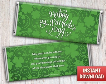 Printable St. Patrick's Day Candy Bar Wrappers, St. Patrick's Day Hershey Bar Wrappers, Instant Download Printable Candy Wrappers - 021