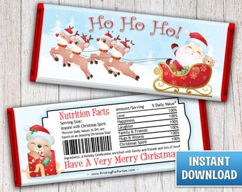 Christmas Hershey's Bar Wrappers, Santa's Sleigh Candy Bar Wrappers, Santa, Candy Bar Wrappers, Merry Christmas, Instant Download – 130
