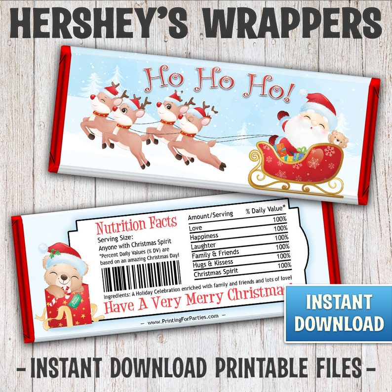 Christmas Hershey's Bar Wrappers Santa's Sleigh Candy image 0