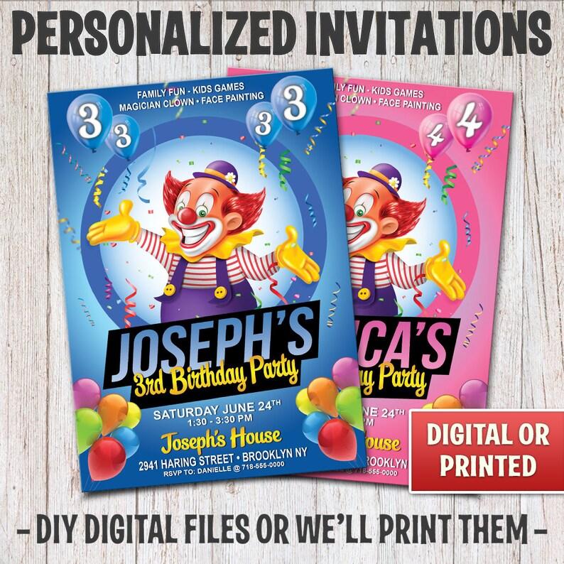 Personalized Clown Birthday Invitation Birthday Clown image 0