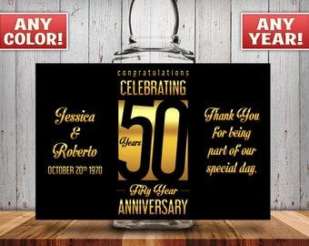 Personalized 50th Anniversary Square Mini Liquor Bottles, Caps & Custom Labels, Mini Liquor Bottles, Party Favor, 30th, 40th, 50th, 60th