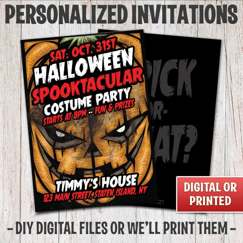 Personalized Pumpkin Halloween Party Invitations Scary image 0