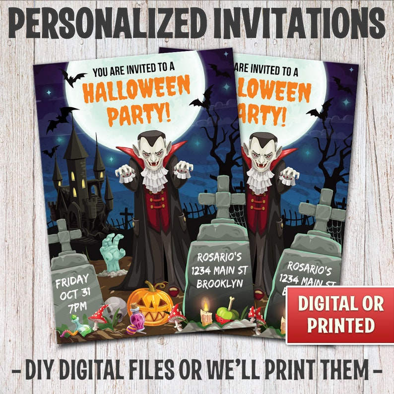 Personalized Halloween Party Invitations Halloween Vampire image 0